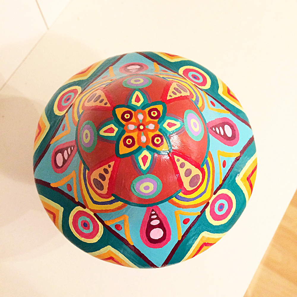 """Magic Mushroom"" acrylic paint on ceramic, mandala art by Adam Millward"