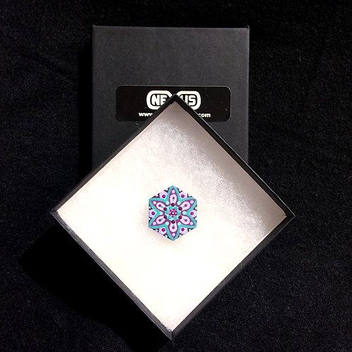 """Brooch Pin #10 - 1.25"""" Hexagonal Mandala (Vertical)"""