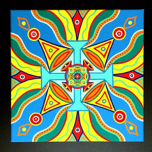 "PEACE & JOY VIBRATION""- 10 x 10 inch acrylic painting"