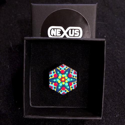 "Ring #8 - .75"" Hexagonal Mandala (Vertical)"