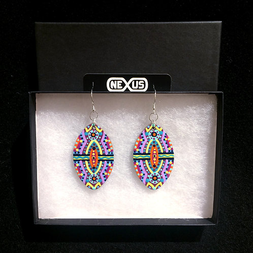 "Earrings #10 - 2.25"" Vertical Football Mandalas"