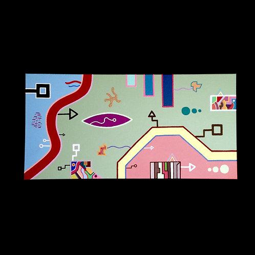 """""""Beach House"""" - 12 x 24 inch acrylic painting on canvas"""