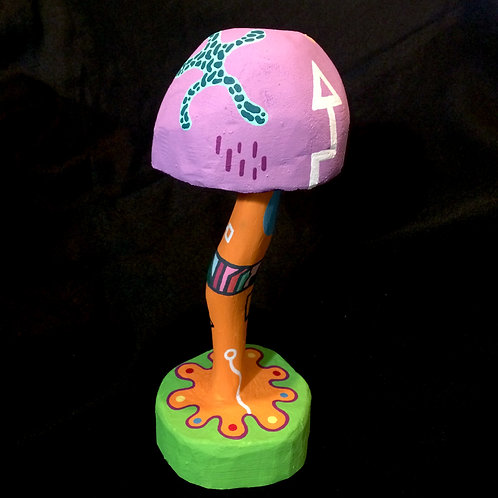 """MAX MUSHROOM""- 12.5 Inch Painted Mushroom Carving"