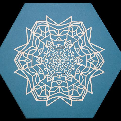 ICE WEB 16 inch hexagonal acrylic painting