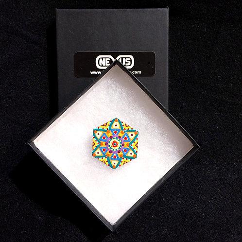 """Brooch Pin #5 - 1.75"""" Hexagonal Mandala (Vertical)"""