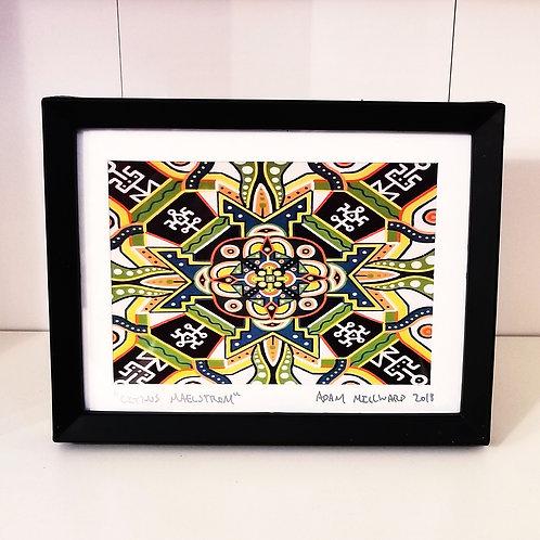 """Citrus Maelstrom"" 5 x 7 inch signed, framed print"