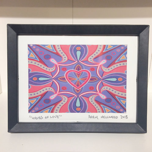"""Waves of Love"" 5 x 7 inch signed, framed print"