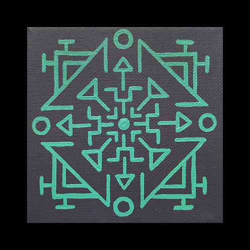 """AZTEC"" 4 x 4 inch acrylic painting"