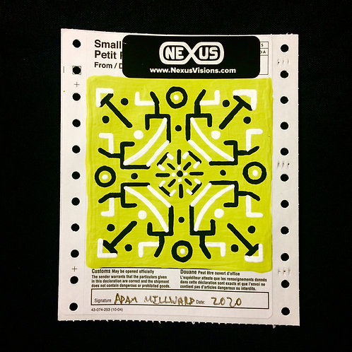 PAINTED CANADA POST CUSTOMS  DECLARATION STICKER - Chartreuse