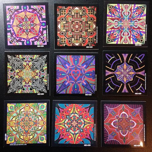 9 vinyl Mandala stickers (3.5 x 3.5 inches)