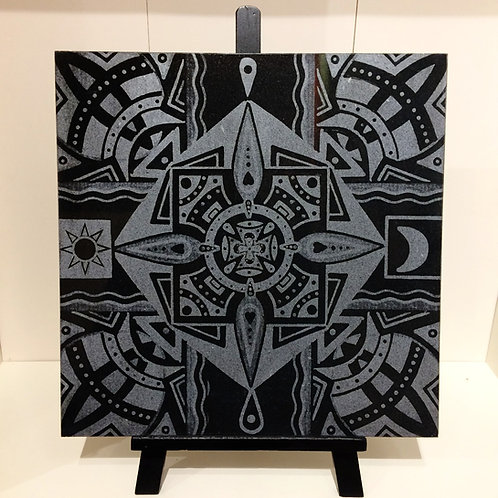 """Tidal Resonance"" 12 x 12 inch etched granite tile"
