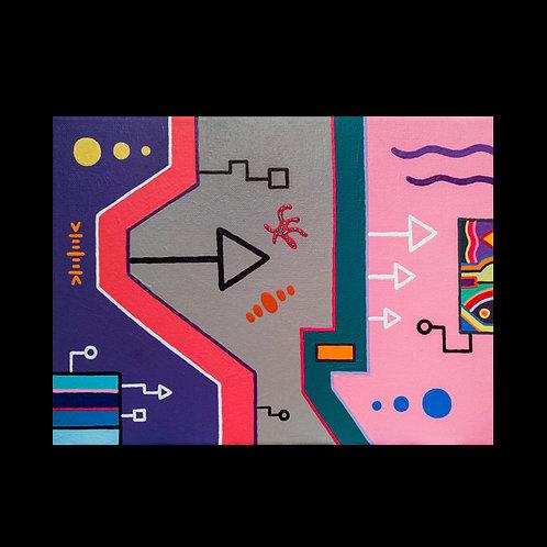 """PURPLE WAVES"" 9 X 12 acrylic painting"