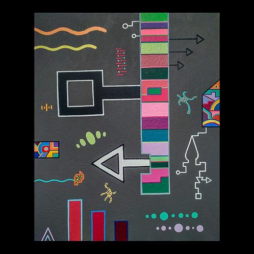 """LADDER KEY"" 16 X 20 acrylic painting"
