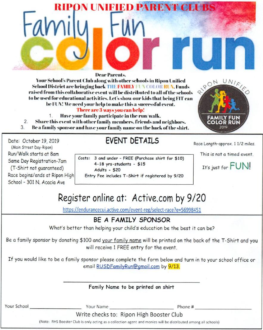 Family Fun Color Run Flyer