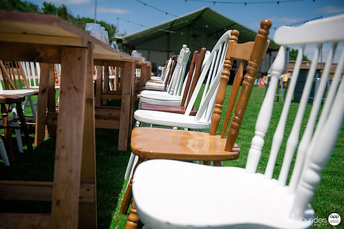 Timber miss match chairs