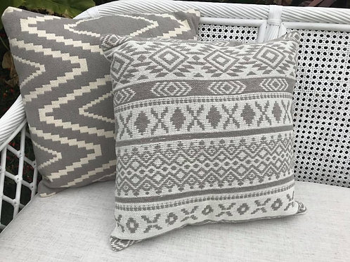 Grey pattern cushion
