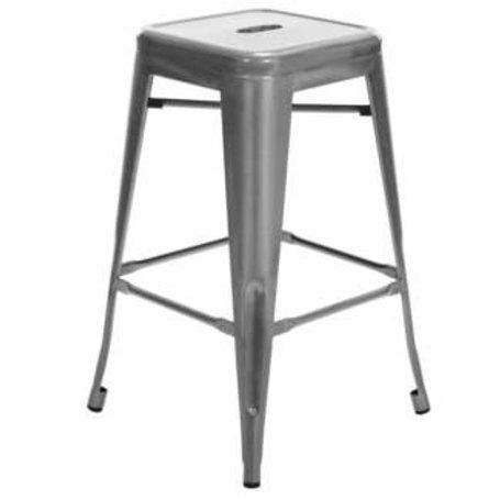 Silver tolix stool 66cm