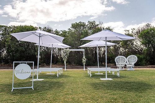 White umbrella stand
