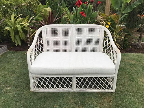 White cane Lounge with cushion