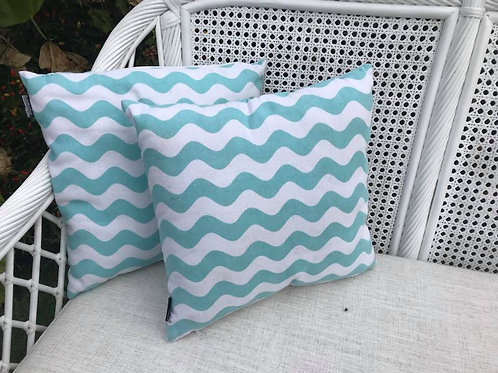 Teal wave cushion