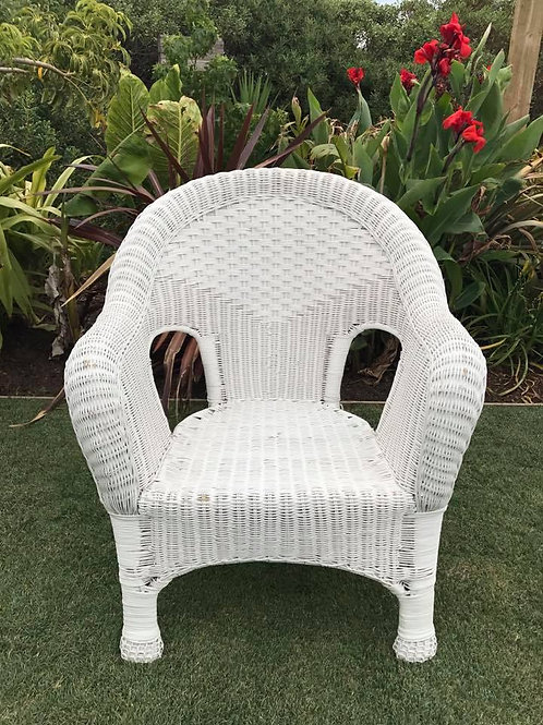 White cane arm chair