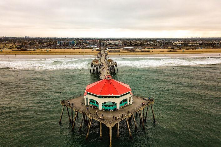 Drone view of the Huntington Beach Pier