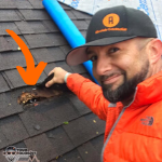 Your Roofologist lifts shingle to uncover hole from rodents