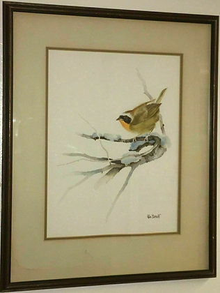 Rick Bennett Original Watercolor Painting of a Common Yellowthroat Bird Signed