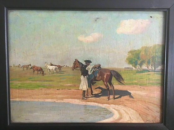 Original Bela Juszko Oil on Canvas Painting, Horses, (1877-1969)
