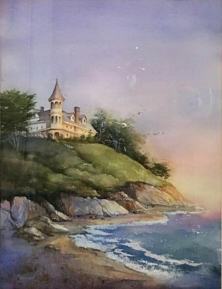 Original Rae Ecklund Watercolor Painting Fantasy Art Castle By Ocean, Book Cover