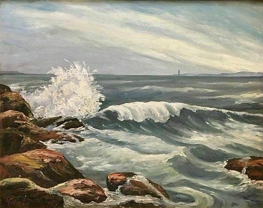 Richard Faulkner Oil on Board Painting, Seascape, Ocean, Fine Art Work, Signed