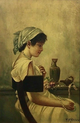 Original Oil on Canvas Painting, Signed T. Marco, Italian, 19th Century Fine Art