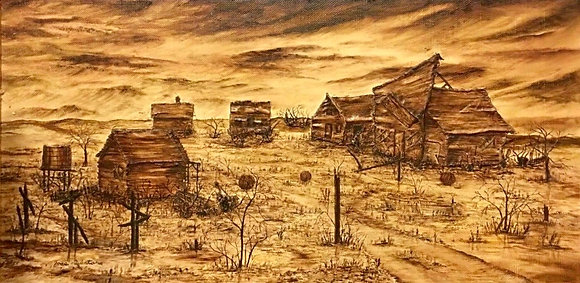 Jose Quintana Original Oil on Board Painting, 3-D Mixed Media Art