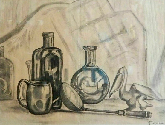 A.B. Frost American 1851-1928 Original Charcoal Drawing Still-life Hand Signed
