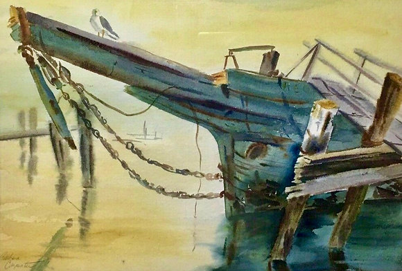 Original Watercolor Painting by Barbara Carpenter, Harbor, Boat with Bird Signed
