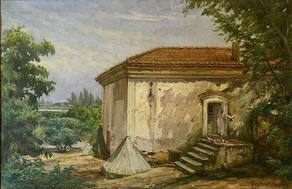 Original Oil on Canvas Painting, Charles Albert Rogers, CA Mission 1848-1918