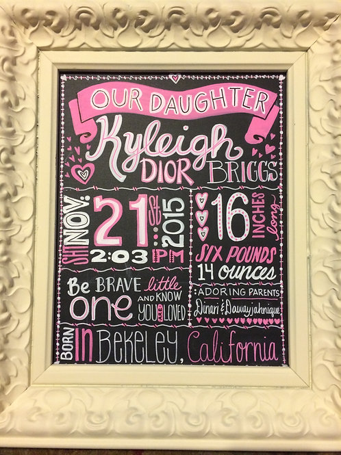 UNFRAMED BABY ANNOUNCEMENT SIGN 8 x 10 in