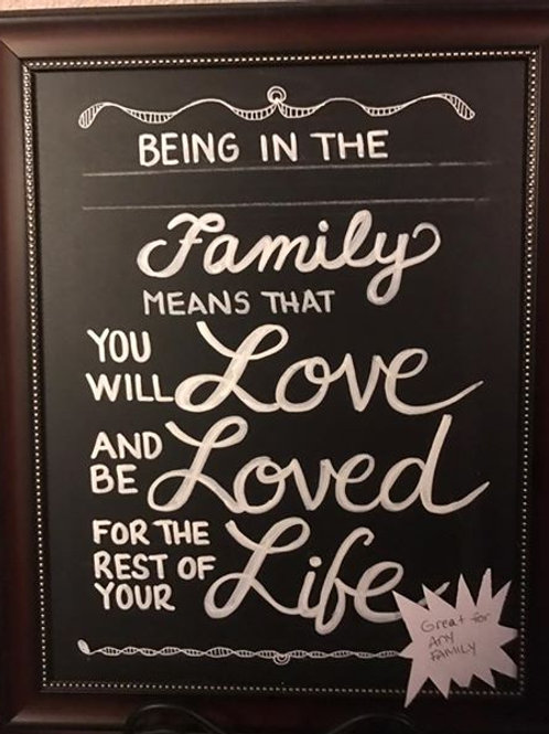 UNFRAMED BEING IN THIS FAMILY BLACKBOARD SIGN