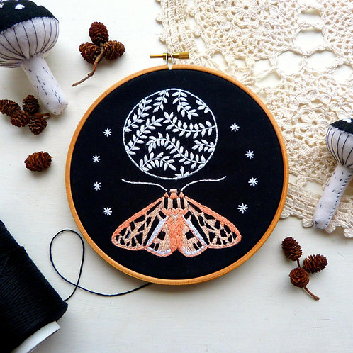 Moon and Moth Embroidery kit