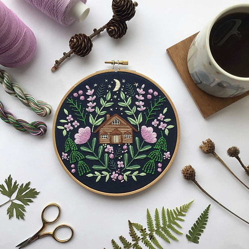 Moon Glade Cabin Embroidery Kit