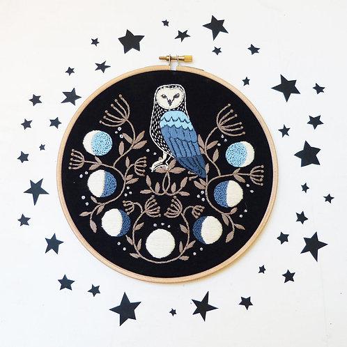 Lunar Magic Owl Embroidery Kit