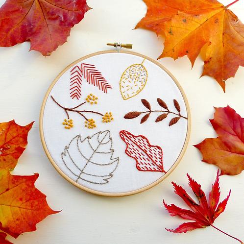 Autumn Leaves Beginner Embroidery Kit.