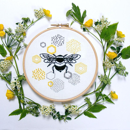 Bee & Honeycomb Embroidery Kit