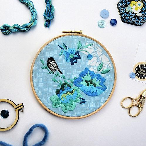 Bird & Blue flowers Embroidery Kit