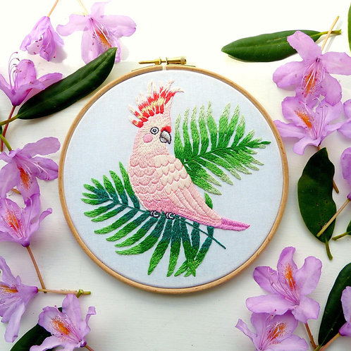 Priscilla the Pink Cockatoo Embroidery Kit