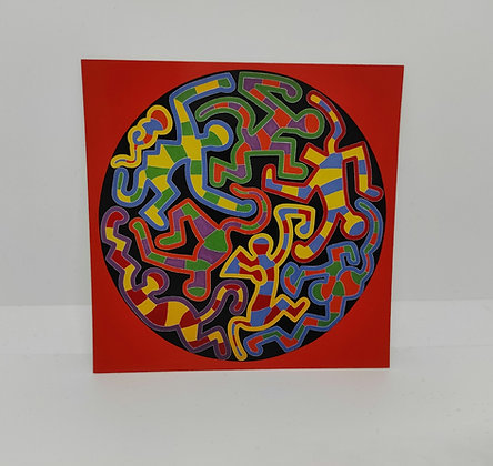"""Keith Haring, postcard """"Monkey puzzle 1988"""""""