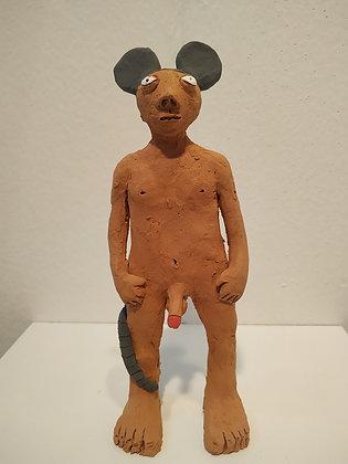 Topolino, scultura in terracotta