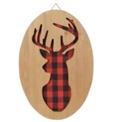 Décoration Noël - rondin bois chevreuil