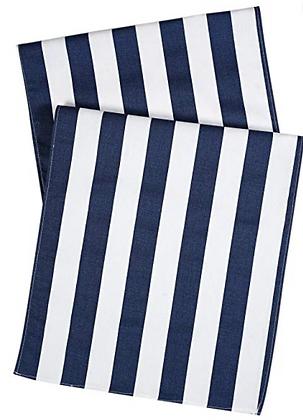 Chemin de table rayé bleu & blanc