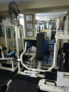personal training, seated bench press in personal training studio